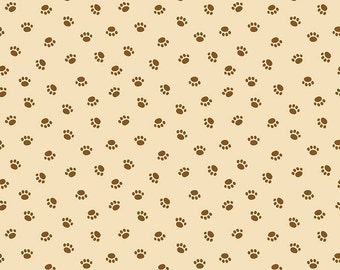 Rover Dog Park Paws on Cream Fabric by Riley Blake C5213 / Dog Fabric / Dog Paws on Cream Fabric / C5213  / 1/2 Yards / By The Yard