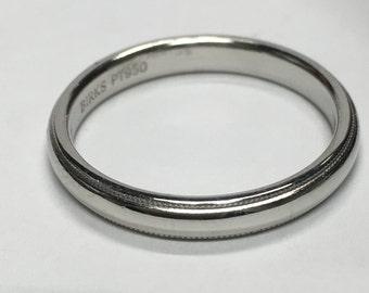 Birks Platinum Wedding Band With Milgrain Edge, 3mm wide SIZE 8