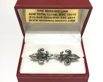 Vintage Sterling Fleur de Lis Cufflinks with Box, Mens Gifts, Wedding Gifts, Fathers Day Gifts, Formal Gifts, Business Gifts