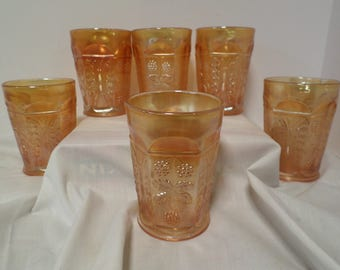 Fenton Butterfly & Berry Carnival Glass Tumblers Set of 6  Marigold Carnival Glasses  Vintage Antique