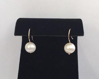 14k solid gold and genuine freshwater pearls earrings , pearl drop earrings