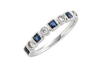 Sapphire Anniversary Band, Sapphire and Diamond Anniversary Band, Anniversary Band, Sapphire Ring, Sapphire and Diamond Ring, Wedding Band