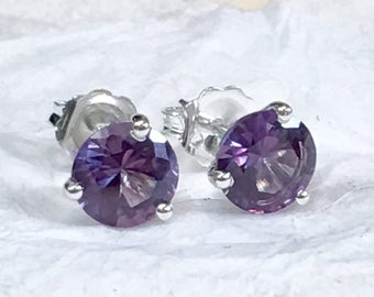 Alexandrite Earrings, Alexandrite Stud Earrings, Silver Alexandrite Earrings, Gold Alexandrite Earrings, Purple Earrings, June Birthstone