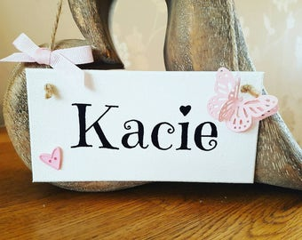 Girls personalised name sign, plaque, FIVER FRIDAY girl's bedroom sign, hanging sign home décor, gift for her, personalised gift