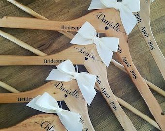 Personalised Wedding Coat Hangers, wooden Clothes Hangers, Bride, Groom, Bridesmaid, Matron of Honour, Mother of the Bride etc...