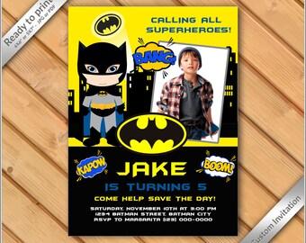 50% OFF SALE - Custom Photo Birthday Invitation Batman Design for Boy, batman invitation.