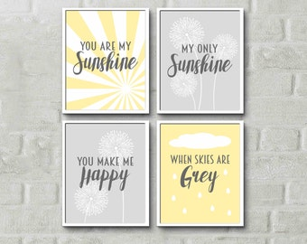 You are my sunshine wall art, nursery rhyme print set of 4, sunshine nursery wall art, nursery quotes, pink yellow navy, custom colours