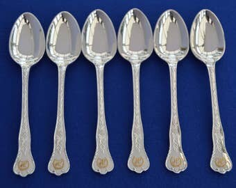 Stunning Set of Asprey Silver Plate Dessert Spoons - London - Monogram JP - Cutlery - Vintage - Antique Style -
