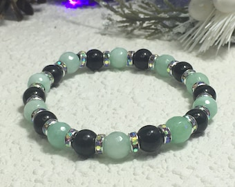 Shungite Bracelet (Polished Shungite 8mm with 8mm facetted Amazonite and a 6mm Crystal Rondell). Genuine Karelian Shungite.