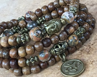 108 Prayers Beads,Natural Wood Beads,Jasper Leopard Stone,108 Mala Bracelet,Yoga Necklace 108,Tibetan Mala Meditation,Jewelry Charm,Zen Mala