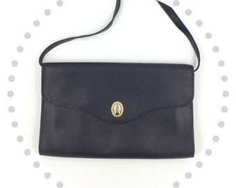 Christian Dior Shoulder Bag Large Oversized Clutch Black Leather Handbag Designer Purse Tasche