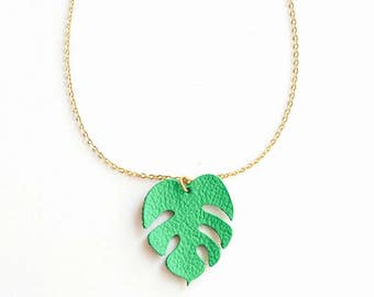 Monstera Necklace, Monstera leather, Tropical Nacklace