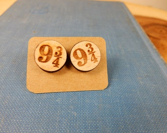 Platform 9 and 3/4 Studs, Wooden Earrings, Hogwarts Express Station, Harry Potter Earrings
