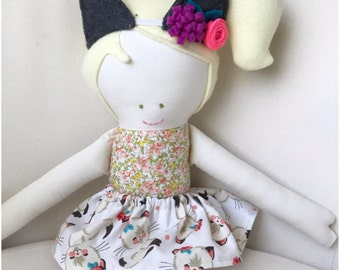 Kitty dress up set for dolls, handpicked by ruby cat outfit, for custom handmade dolls