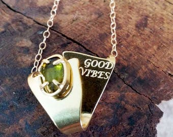 Good vibes necklace - Green tourmalin necklace - Dainty necklace - Gold fielld necklace - Spiritual jewelry