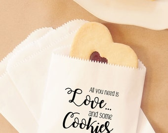 Wedding Cookie Bags, Bridal Shower Favors, Party Favor, Dessert Table, Bakery Bags - Personalized - Lined, Grease Resistant