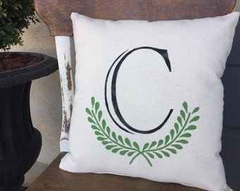 Initial/Monogram/Letters/Throw Pillow/Pillow/Pillow Cover/Handpainted
