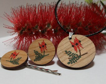 Wood Pendant Necklace and Flower Bobbypin Set, Handpainted Flower Pins, Laser Cut Wood Jewellery, Australian Flower, Sturt's Desert Pea