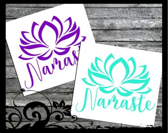 Namaste Decal - Lotus Flower Decal - Yoga Decal - Laptop Yeti Decal for Women - Mandala Decal Vinyl Window Decal, Vinyl Window Sticker