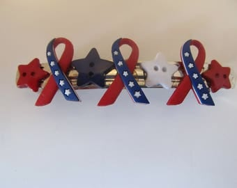 4th of July Patriotic Button Barrette, Birthday Gift, Gifts for her, Gifts for girls, Gifts for teens, Button barrettes, Hair Accessories