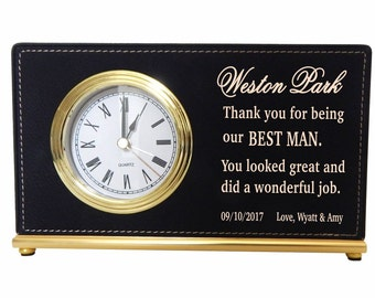 Best man Custom Desk Clocks,Thank you Gifts to my Best man,Wedding Clocks,Gifts from the Groom/Bride,Personalized Leather Clocks, LCG002