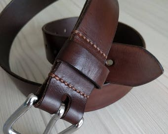 Handmade, handstitched leather belt with stainless steel buckle - handmade in Britain