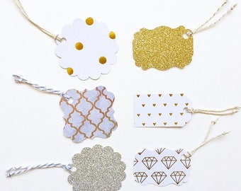 6 Gold, Silver and White Gift Tags. Wedding Gift. Bridal Shower Gift. Anniversary Gift. Gift Tags.