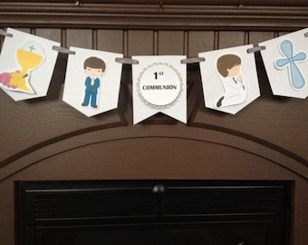 Boy's First Communion Party Mini Banner