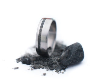 Titanium Ring With Black Onyx Stone Inlay. Wedding And Engagement Ring. For Men And Women. Custom Made.