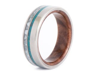 Red Mallee Burl Wood With Titanium Ring, Pearl And Turquoise Inlays: Resin Coat. Wedding And Engagement. For Men And Women. Custom Made.