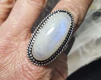 Rainbow Moonstone Statement Ring - Size 8.5