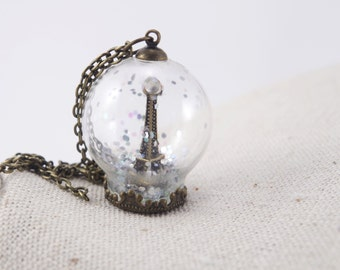 Winter Snow Eiffel Tower Glass Globe Necklace Paris Winter Pendants Magical Terrarium Jewelry Bronze Snowglobe Anniversary Gift for her