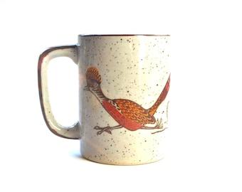 Vintage Otagiri Roadrunner Mug, 1970s Stoneware, Southwestern Decor