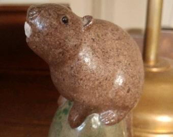 Vintage Canadian Jarko Zavi Pottery Beaver Figurine Statue Ceramic Art