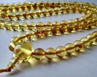 Subtle - 108 baltic amber mala for meditation (size Ø6 colour 2), buddhist meditation, guruo bead, 108 bead mala