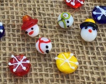 6 | Snowman Snowflake Lampwork Glass Beads | Snowman Bracelet | Christmas Beads | 12-15mm