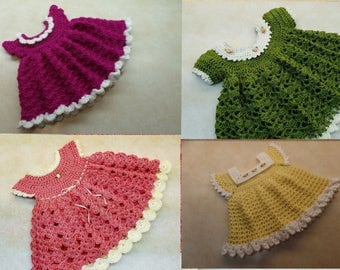 Awesome deal!!! Four Crochet Baby Dress Patterns DIGITAL DOWNLOAD ONLY