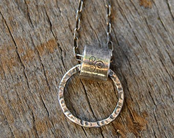 Sterling Silver Necklace, Pendant Necklace, Silversmith Jewelry, Rustic Jewelry, Minimalist Necklace, Tube Necklace
