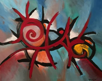 """Whirling Dervishes - Original Abstract Acrylic Painting Large Wall Art Contemporary stretched canvas Blue Red 24""""x20"""""""