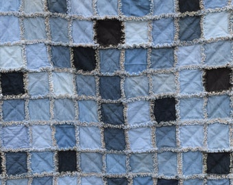 "Upcycled Denim Patchwork Rag Quilt 73""x89"" Denim Flannel Patchwork Rag Quilt Full/Queen Warm Cozy Heavy"