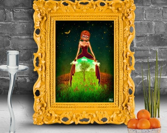 Beautiful girl with big eyes and strange dress.  Surreal fine art print   FRAMED