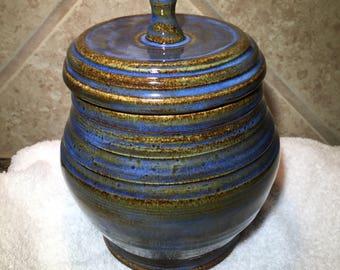 Lidded Jar, Handmade Pottery, Storage for Kitchen