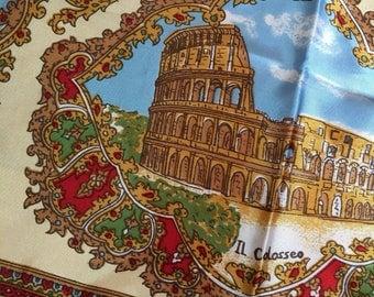 Vintage Rome, Italy Souvenir Scarf, Gold, Roma Sourvenir, Piazza S. Pietro, Via Appia Antica, Arco di Costantino, Piazza Navona