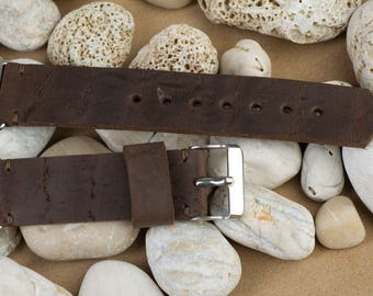 Apple watch band 38 mm, 125 / 75mm, Dark Brown color, leather from old bag, handmade, with buckle and connector in silver color