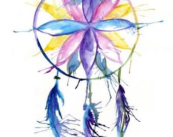 A3 Dreamcatcher Watercolour Print