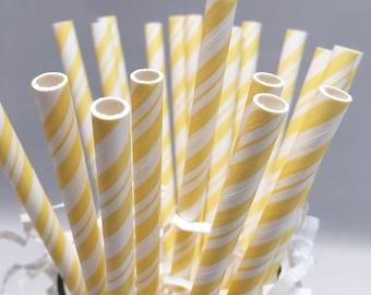 Yellow Straws - Yellow Baby Shower - Paper Straws - Gender Neutral Baby Shower - Yellow Party - Yellow Wedding - Birthday Party Straws