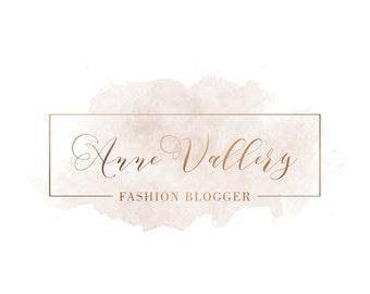 Watercolor Logo, Copper Calligraphy Logo, Fashion Logo Design, Business Logo, Watermark, Branding Logo, Premade Logo,  Rose Gold Logo