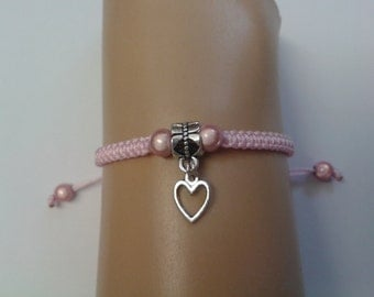 Heart bracelet - girls heart bracelet - girls bracelet - childrens bracelet - childrens jewelry - heart charm - pink bracelet - adjustable