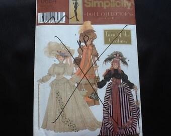 "Simplicity pattern 0684. Uncut Turn of the Century wardrobe for 11 1/2"" fashion dolls. Skirt, bustle, parasol, hat, tunic, buckram, muff."