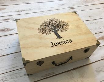 Keepsake box, birthday box, wedding box, tree, woodburned, engraved